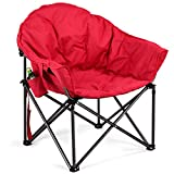 Giantex Folding Camping Chair Moon Saucer Chair Lightweight Sofa Chair Round Beach Chair with Soft Padded Seat, Cup Holder and Metal Frame Chairs for Hiking, Camping, Fishing or Picnic (Red)