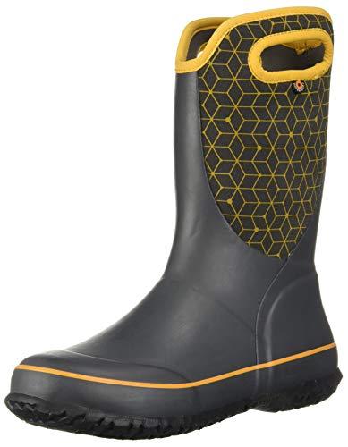 BOGS Kid's Slushie Waterproof Rubber Boys and Girls Snow Boot, Web Geo Print-Dark Gray, 1 M US Little Kid