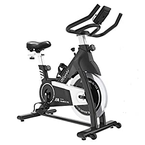 SMOOTH & QUIET STATIONARY BIKE - Equipped with sturdy steel frame and 35 lbs flywheel, you can get a stable and smooth ride at home, the belt driven system keeps the exercise quiet, it won't disturb anyone who around you. CUSTOMIZED DESIGN - 2-way ad...