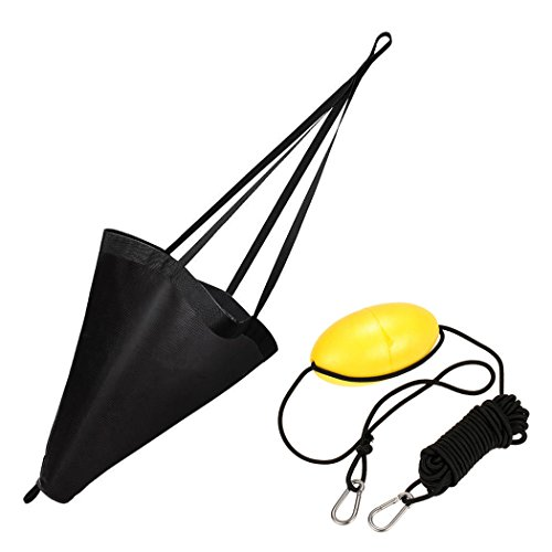 MOOCY 32-Inch Drift Sock Sea Anchor Drogue with 30ft Kayak Tow Rope Line Buoy Ball Float Leash Sea...
