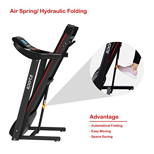 """HYLINCO Folding Electric Treadmills for Home, Foldable Compact Treadmill with Incline, 5"""" LCD Display and Tablet/Cup Holder, Portable & Quiet Running Machine 5"""