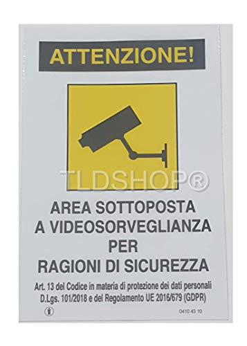 TLDSHOP - Cartello Segnaletico in alluminio - AREA SOTTOPOSTA A VIDEOSORVEGLIANZA PER RAGIONI DI SICUREZZA- 20x30cm (1, 20x30 cm)