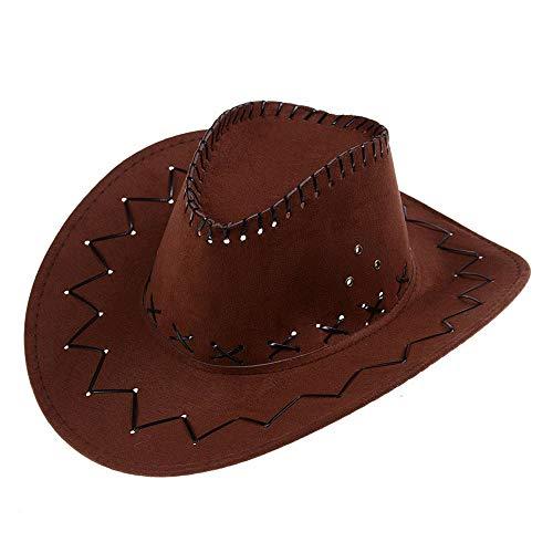 AcserGery Cowboyhut Westernhut Kostümzubehör Western Wildlederoptik Cowboy-Hut (opfbedeckung zu Karneval, Fasching, Halloween, Mottopartys) (Braun)