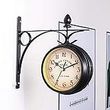 VINTAN Reloj de pared de doble cara, para interior y exterior, estilo vintage, aspecto antiguo,...