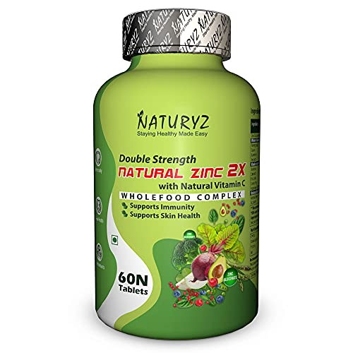 Naturyz Double Strength Wholefood Natural Zinc 2x with Vitamin c   Antioxidant booster   Recovery   Immunity Support & Skincare (60 Vegetarian tablets)