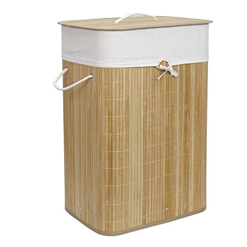 HomeStorie® Eco-Friendly Foldable Bamboo Laundry Basket Hamper with Lid, Large - 81 Liter (Light...