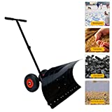 HOTSTORE Strain-Reducing Snow Shovel, Heavy Duty Snow Shovel, Rolling Adjustable Snow Pusher with Rubber Wheels 10' Dia Efficient Snow Plow for Driveway or Pavement Clearing (29' x 13')