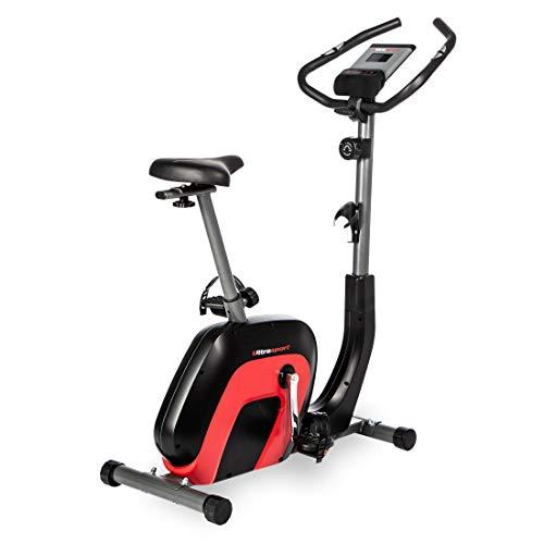 Ultrasport Heimtrainer Racer 2000 Ergometer für Gesundheit und Fitness mit Bluetooth-fähigem Touch-Display, Pulssensoren, 8-fach einstellbarem Widerstand, anpassbarem Sattel und Lenker, Schwarz Rot