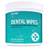 Pet MD Dog Breath Freshener Dental Wipes for Dogs - Tartar and Plaque Remover for Teeth Cleaning - Fresh Apple & Mint Scent Bad Breath Treatment for Dogs - 100 Count