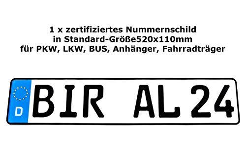 1 x Kennzeichen   520x110mm   Nummernschilder   KFZ Auto PKW LKW   DHL-Versand