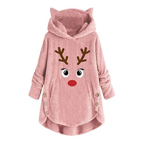 CLOOM Talla Grande Mujer Suéter con Capucha Sudadera de Felpa Decoración de Botones Jersey Abrigo Cálido y Confortable Moda Pullover con Bolsillo Grande (Rosado Navidad, XL)