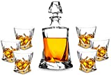 Premium Crystal Whiskey Decanter Set, KANARS Hand Made Liquor Decanter with 6 Twisted Old Fashioned Glasses for Scotch, Bourbon or Whisky, Unique Elegant Gift Box, 7-Piece