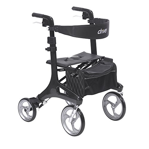 Drive Medical Nitro Elite CF Carbon Fiber Walker Rollator, Black, 23' (W) x 27.75' (L)