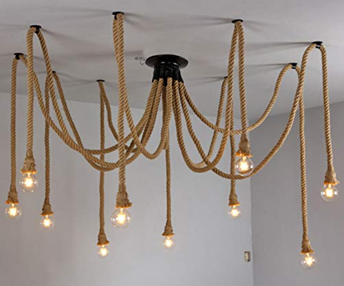 Vintage Hemp Rope Chandelier Industrial Style Suitable for Living Room Dining Room Balcony Outdoor Cafe Chandelier (excluding Light Bulb) (Sports)