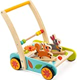 cossy Wooden Baby Learning Walker Toddler Toys for 1 Year Old Rabbit and Squirrel and Roll Cart Push Toy (Upgrades)