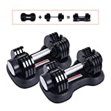 Funcode Adjustable Dumbbell, 5-50Lbs Weight Options, Anti-Slip Hand, All-Purpose, Home, Gym, Office (Pair)