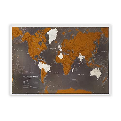 Scratch the World - Poster carte du monde noire avec lieux de voyage à...