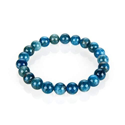 Natural Blue Apatite Gemstone Beaded Bracelet 7 inch Stretch...
