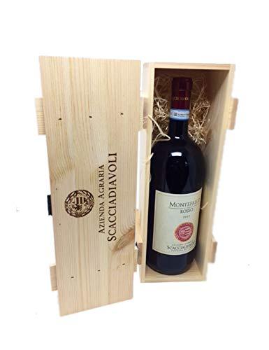 Scatola in legno con vino rosso sagrantino di montefalco d'abruzzo DOC