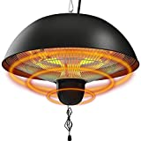 Hanging Patio Heater, 1500W Outdoor/Indoor Electric Patio Heater, Infrared Patio Heater, Ceiling Electric Heater with 3 Adjustable Modes 600W/900W/1500W