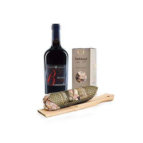 'I Gusti Semplici' Kit Aperitivo con Vino Rosso Bonarda dell'Oltrep Pavese DOC e Salame Campagnolo con Tagliere by Salumi Pasini