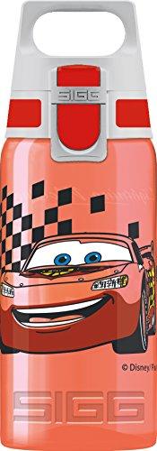 SIGG VIVA ONE Cars Cantimplora infantil (0.5 L), botella transparente sin sustancias nocivas y con tapa hermética, cantimplora para niños para usar con una mano