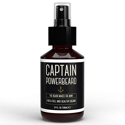 Captain Powerbeard Spray Crescita Barba I Olio Barba Uomo Idratante e Nutriente I Spray con Olio da Barba che Favorisce Crescita Barba Folta, Morbida e Sana I Alternativa a Balsamo Barba - 100 ml