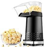Hot Air Popper Popcorn Maker,1200W Electric Popcorn Maker,BPA-Free, 3 Minutes Fast Popcorn Popper with Measuring Cup and Top Lid for Home, Family, Party-2021 New Version(Black)
