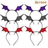 HLHXMWXY Halloween Bat Wing Headband   Bat Wing Hairband   Ghost Festival Carnival Tiara Cosplay Party Prom Costume Hair Accessories-6Piece Purple, Red and Black