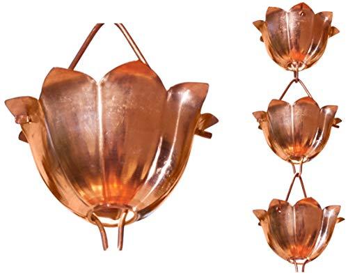 Monarch Rain Chains 28501 3\' Pure Copper Lotus Rain Chain Extension