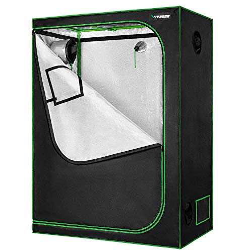 VIVOSUN 48'x24'x60' Mylar Hydroponic Grow Tent with Observation Window and Floor Tray for Indoor Plant Growing 2'x4'