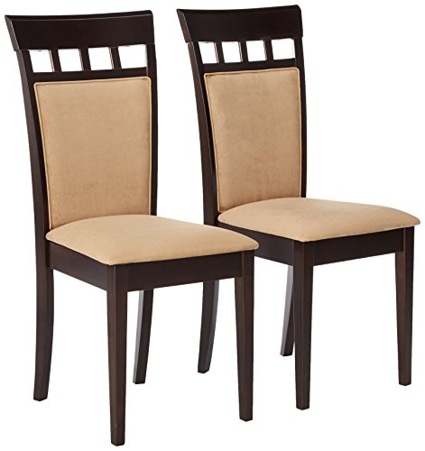 Gabriel Upholstered Back Panel Side Chairs Cappuccino and Beige (Set of 2)