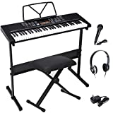 ZENY 61-Key Portable Electric Keyboard Piano with Built In Speakers, LED Screen, Headphones, Microphone, Piano Stand, Music Sheet Stand and Stool