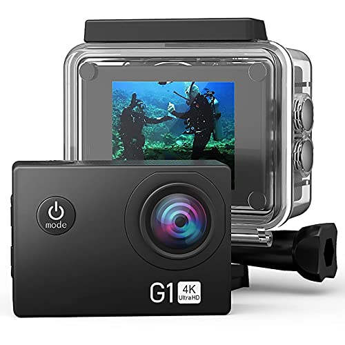 PIG-GIRL Action Cam Full HD 1080P 12MP Fotocamera Subacquea Impermeabile 30M Fotocamera per Casco 140 °Obiettivo grandangolare per Principianti con Kit di Accessori