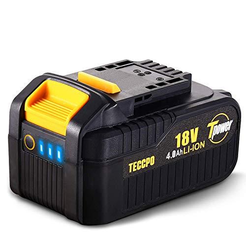 TECCPO Professional 18V 4.0Ah Batteria Ricaricabile al Litio, Batteria di Ricambio per Tutti TECCPO&POPOMAN Strumenti da 18V senza Fili - TDBP04P