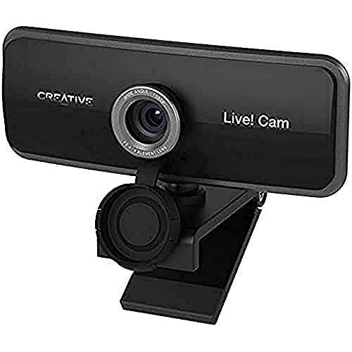 Creative Live! Cam Sync 1080p Full-HD-Weitwinkel-USB-Webcam mit integriertem Dual-Mikrofon, Objektivschutzkappe, Universal-Stativhalterung, Kamera für Videotelefonie und Streaming für PC oder Mac