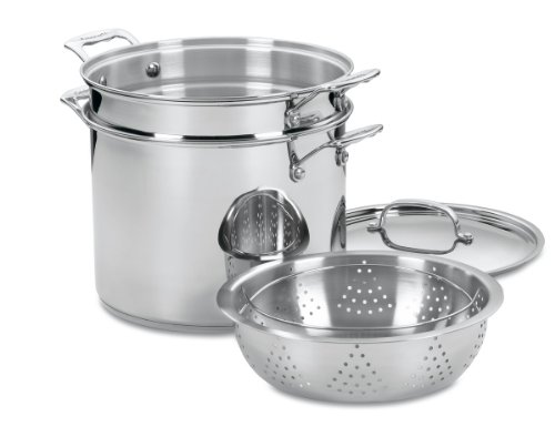 Cuisinart 77-412 Chef's Classic Stainless 4-Piece 12-Quart Pasta/Steamer Set,Stainless Steel
