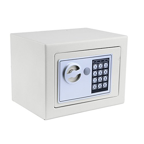 Meykey Cassaforte Elettronica, Cassaforte Piccola,2 Chiave per apertura d'emergenza,23  17  17 cm,Bianco