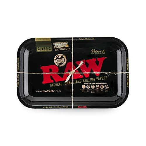 Raw - Bandeja pequeña negra, de metal, para liar tabaco (27,5 x 17,5cm)