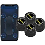 BARTUN Bluetooth 5.0 Wireless Tire Pressure Monitoring System with 4 External Sensors, Real-time Displays 4 Tires' Pressure and Temperature TPMS, Supports Android and iOS (1.5~92.8Psi/0.1~6.4Bar)