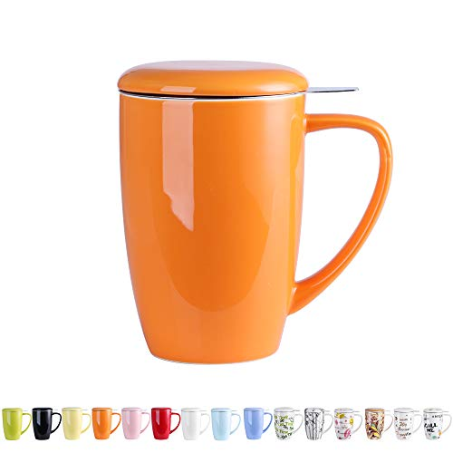 LOVECASA Tazza da tè con Infusore Acciaio Inox in Ceramica Porcellana, Filtri e Colini da tè, Filtro Infusori per tè, Set da tè caffè Mugs per Una Persona, 450ml, Arancione