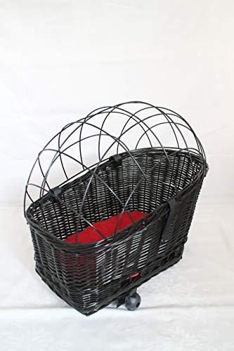 Marcus´ Weidenhandel Hundefahrradkorb für Gepäckträger aus Weide mit Metallgitter und Kissen Schwarz XL oder XXL Gepäckträgerkorb Weidenkorb Hundekorb Tierkorb (XL mit Kissen)