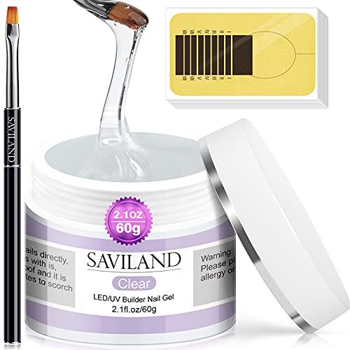 Saviland 60ml Gel Uñas Kit - Clear Nail Extension Uñas De Gel Set Fortalecimiento De Uñas Nail Art Manicure Set Con 100 Piezas De Formas De Uñas y Pincel Acrílico Para Uñas Para Principiantes