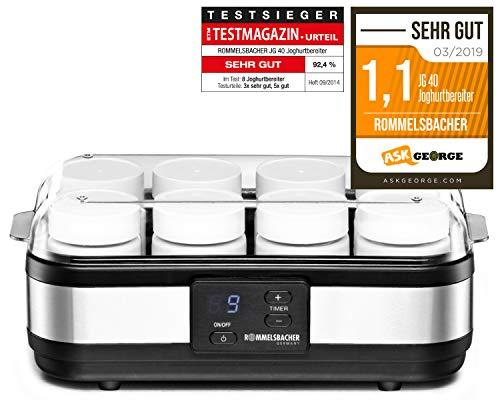 ROMMELSBACHER Joghurtbereiter JG 40 - für bis zu 1200 g Joghurt, LCD Display, 18 Stunden Zeitschaltuhr, automatische Abschaltung, elektronische Temperaturregelung, 8 Portionsgläser à 150 ml, 40 Watt