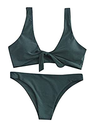 Features: Tie Knot Front, Two Pieces Swimsuit for Women. Soft with Good Elasticity, Comfy to Wear. OCCASIONS: Tropical Vacation, Beach Party etc Machine Wash/ No Bleach Please refer to our Size Chart(Not Amazon).Recommend to Choose One Size Up!