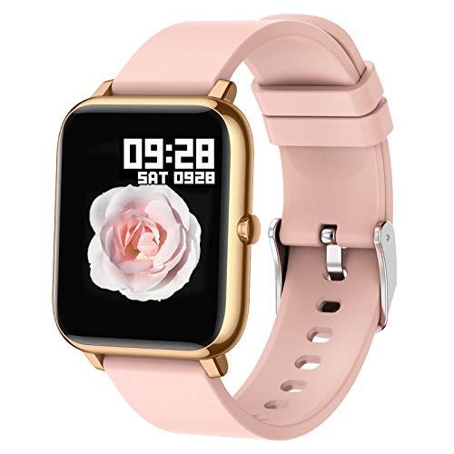 Popglory Montre Connectée, Montre Sport Podometre Femmes Homme Smartwatch Cardiofrequencemètre Moniteur de Sommeil Pression Artérielle Montre Intelligente Compatible Android iOS