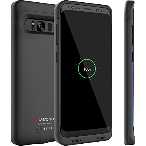 Galaxy S8 Battery Case Qi Wireless Charging Compatible, Alpatronix BX430 5.8-inch 4500mAh Slim Rechargeable Extended Protective Portable Backup Charger Case for Samsung Galaxy S8 [Android 8.0] – Black