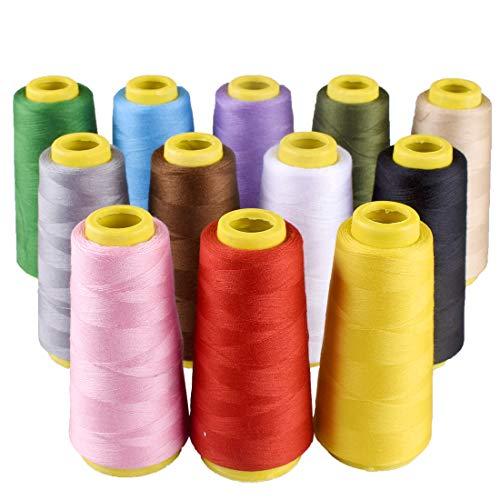 Tomkity 12pcs Fil Surjeteuse Bobines de Fils à Coudre pour Couture à la Main ou à la Machine en Polyester 18000 Mètre