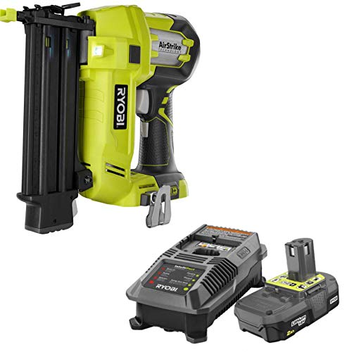 Ryobi 3 Piece 18V One+ Airstrike Brad Nailer Kit (Includes: 1 x P320 Brad Nailer, 1 x P190 18-Volt ONE+ 2.0 Ah lithium-ion compact battery P118 dual chemistry charger and an operators manual