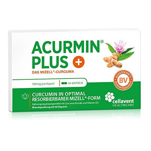 Kurkuma Kapseln hochdosiert von Acurmin PLUS – mizellares Curcumin C14 zertifiziert – ohne Piperin - 60 Kapseln